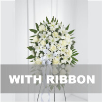 Funeral spray / arrangement with ribbon