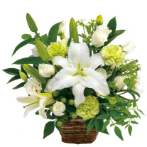 Funeral arrangement in white and green