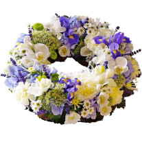 Wreath for funeral, blue-white